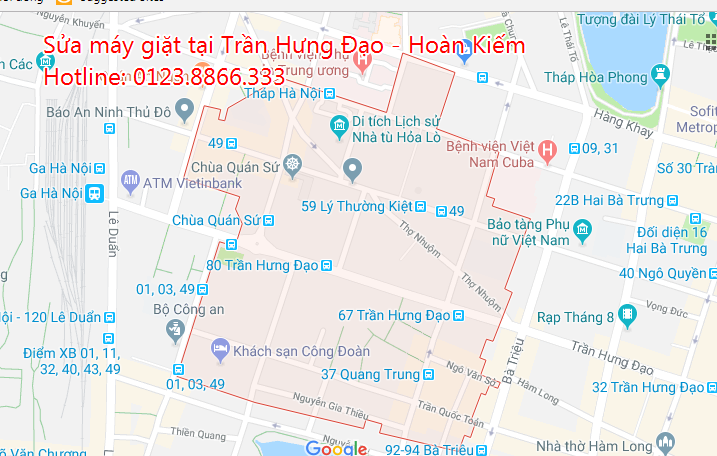 Sửa máy giặt tại nhà phường Trần Hưng Đạo - Hoàn Kiếm